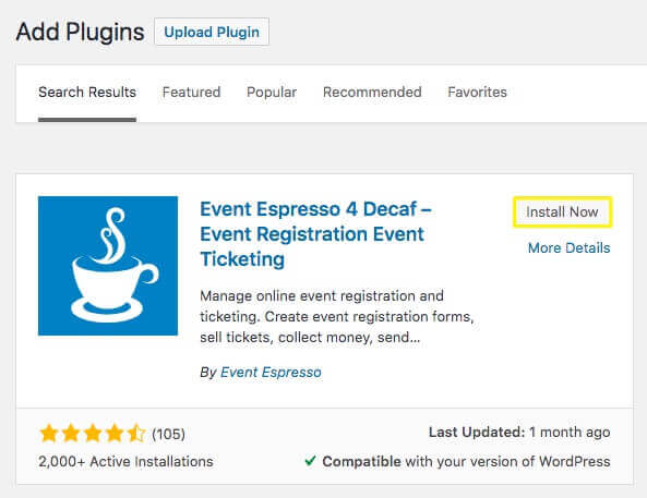 Installing the Event Espresso plugin.