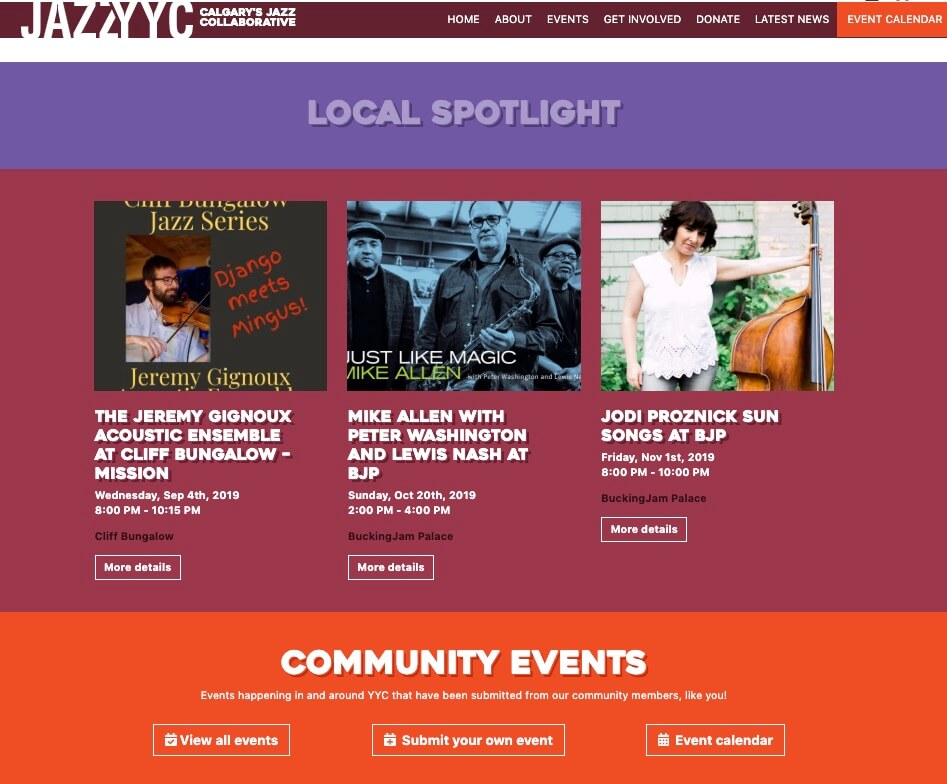 An example of an events website.