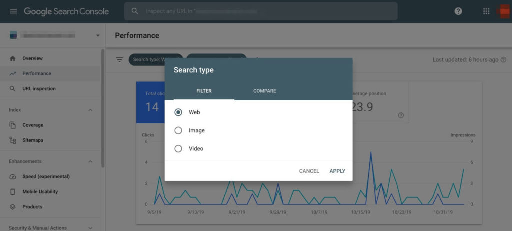 Search types in the Google Search Console Performance report.