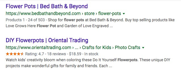 Examples of rich search results created with markup in Google.