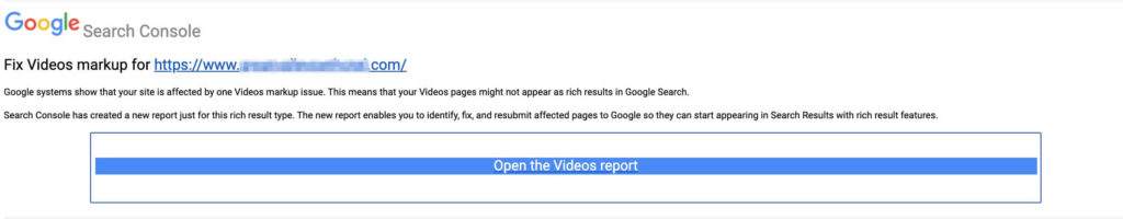 The Google 'Fix Videos markup' alert email notification.