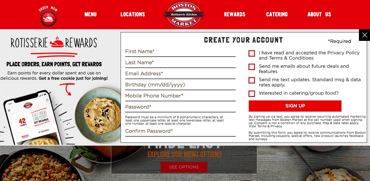 The Boston Market website.
