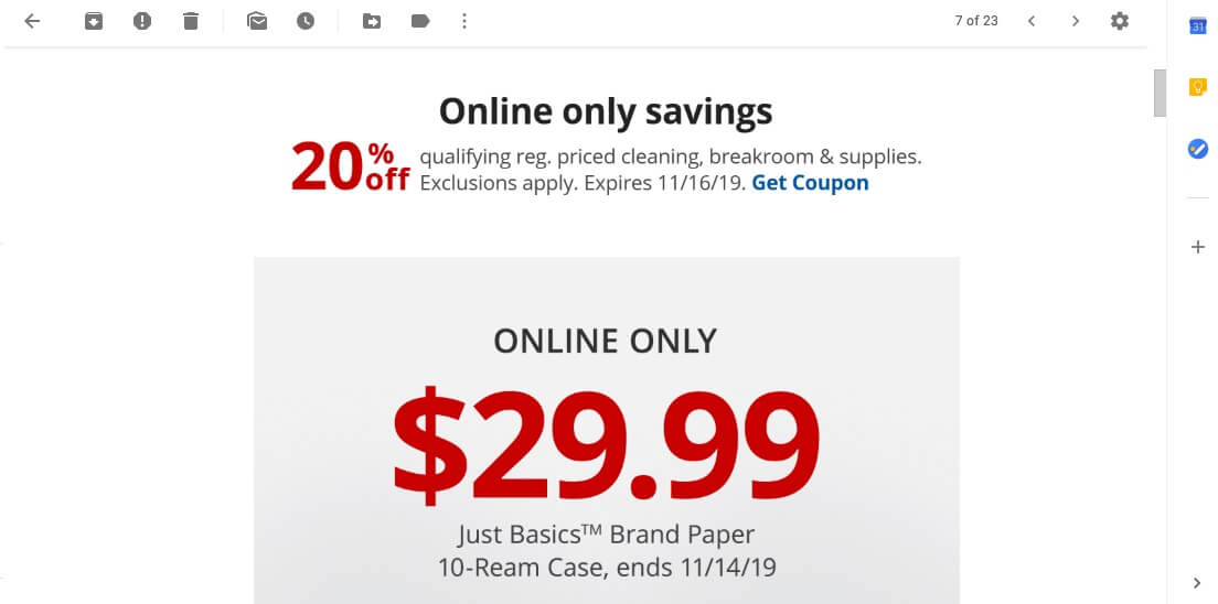 An example of email savings.