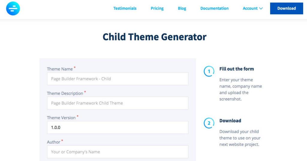 The Child Theme Generator.