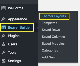 Beaver Themer options in WordPress.