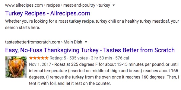 An example of rich snippets in a search result.