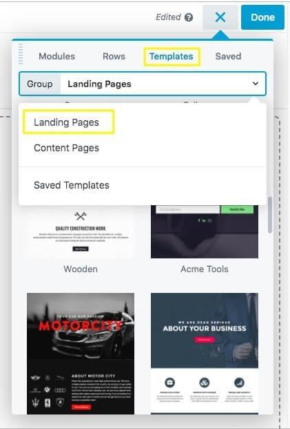 The Beaver Builder landing page templates menu