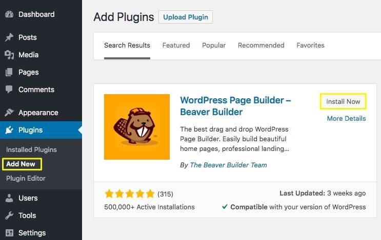 The WordPress Add Plugin Page