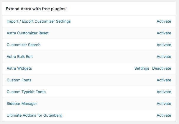 The Astra free plugins list