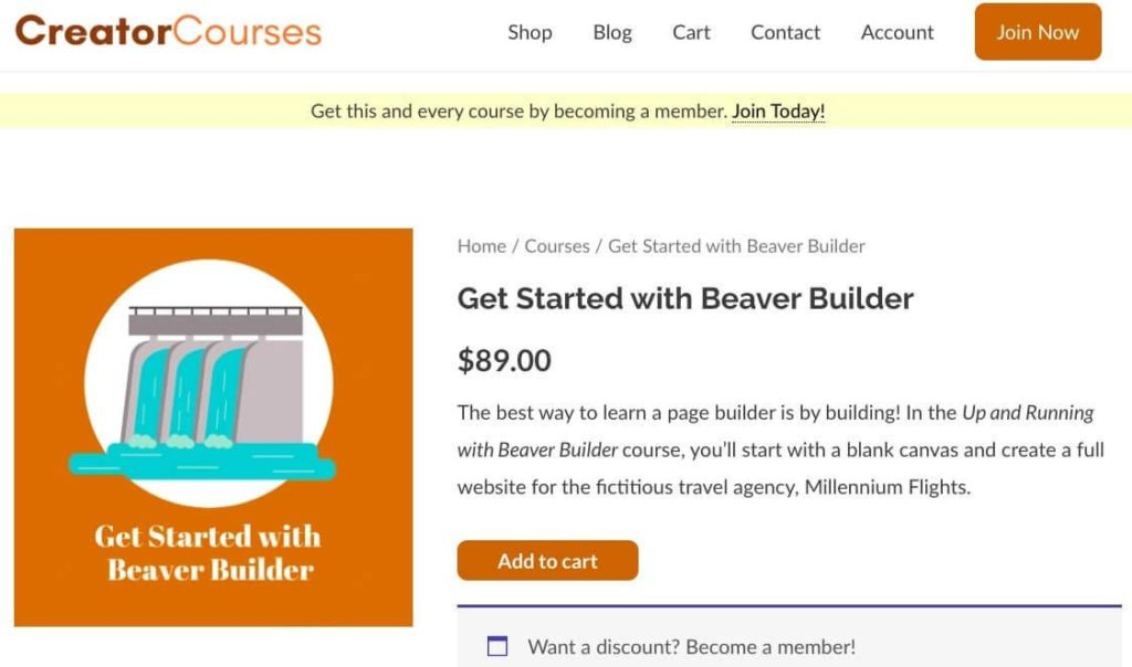 The Get Started with Beaver Builder course from CreatorCourses