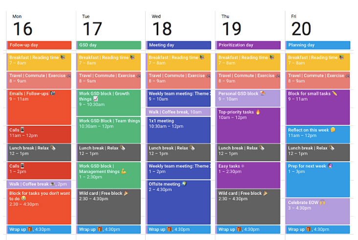 An example of time blocking on Google Calendar