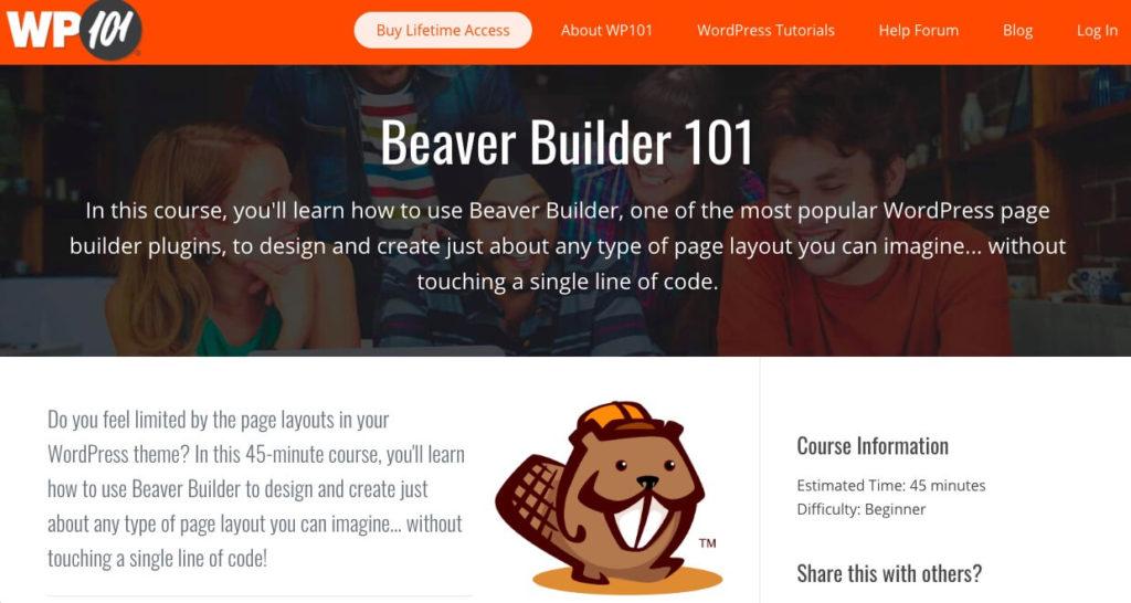 Beaver Builder 101 from the WP101 training website.