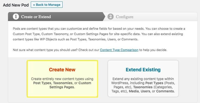 Creating a new custom post type using pods