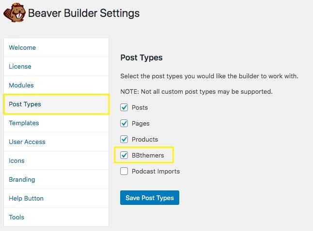 Enabling custom post types in beaver builder