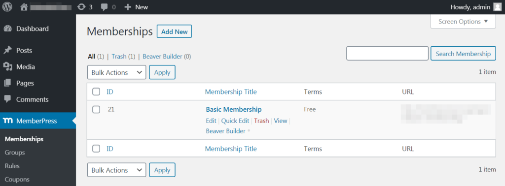 MemberPress in the dashboard.
