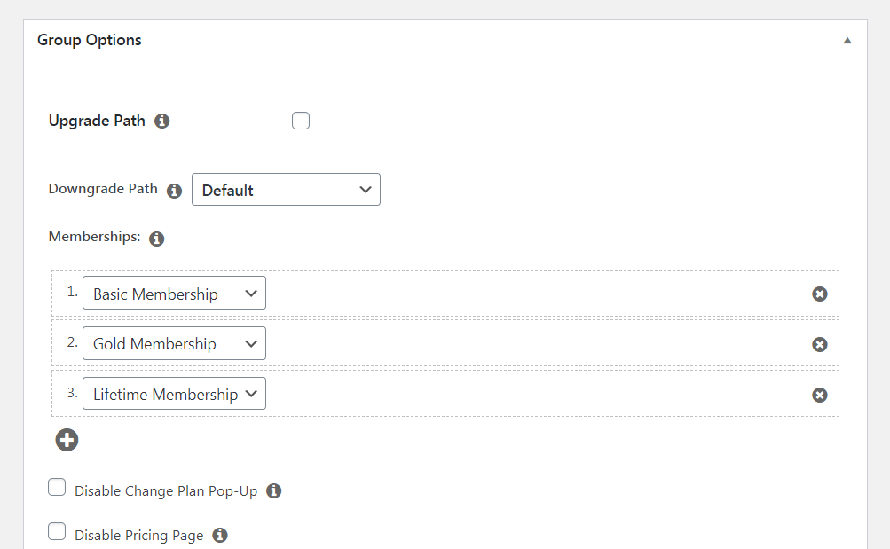MemberPress Groups options.