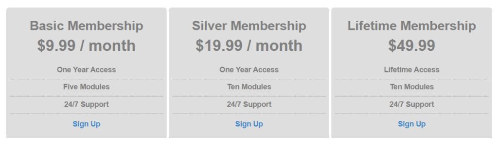 Membership plan tiers.