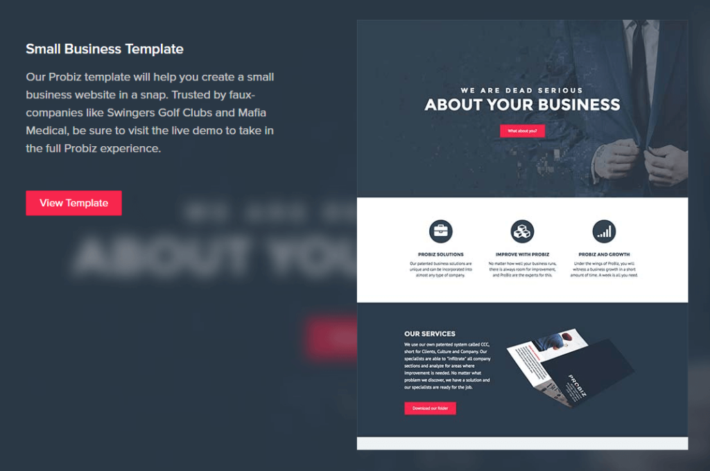A Beaver Builder landing page template.