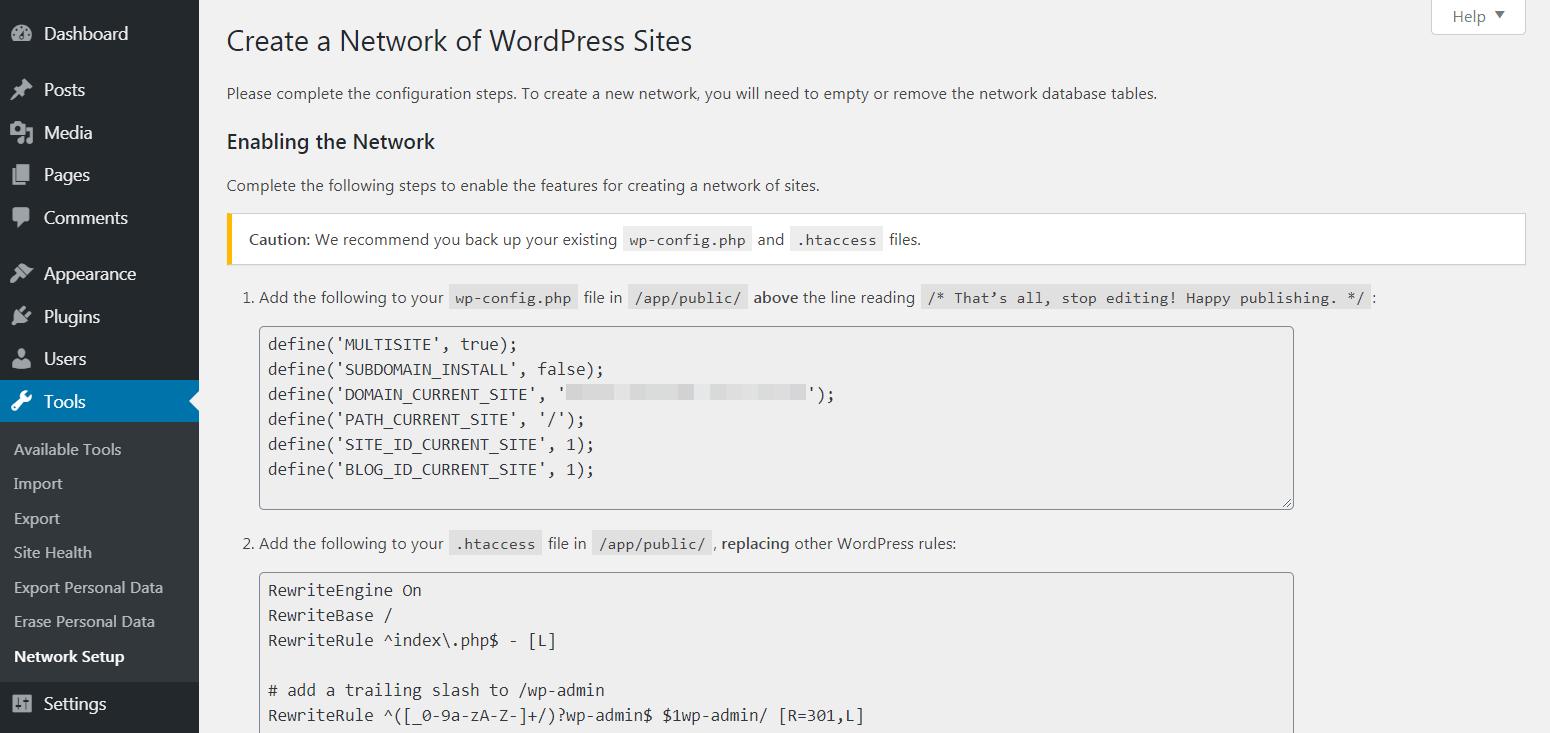 Setting up WordPress multisite.