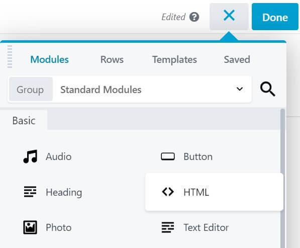 Adding an HTML module in Beaver Builder.