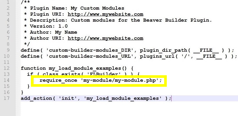 Adding your custom module to the plugin you created.