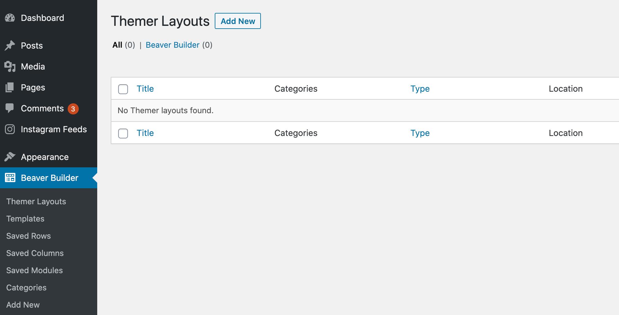The Themer Layouts screen in the WordPress dashboard.