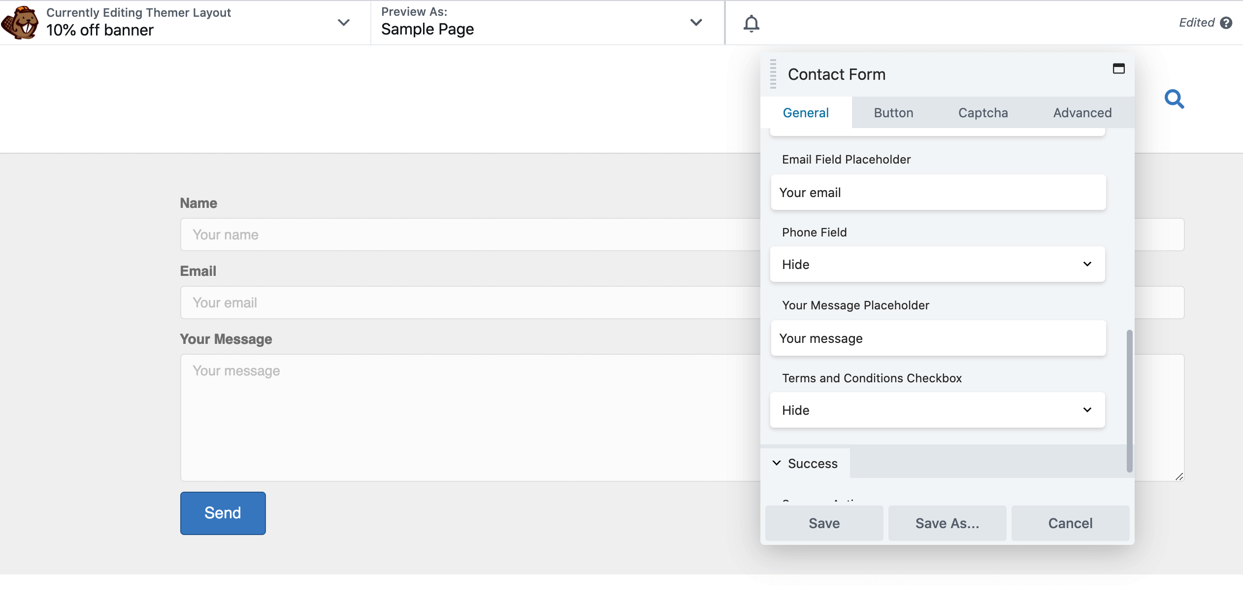 The Contact Form settings menu in the Beaver Builder editor.