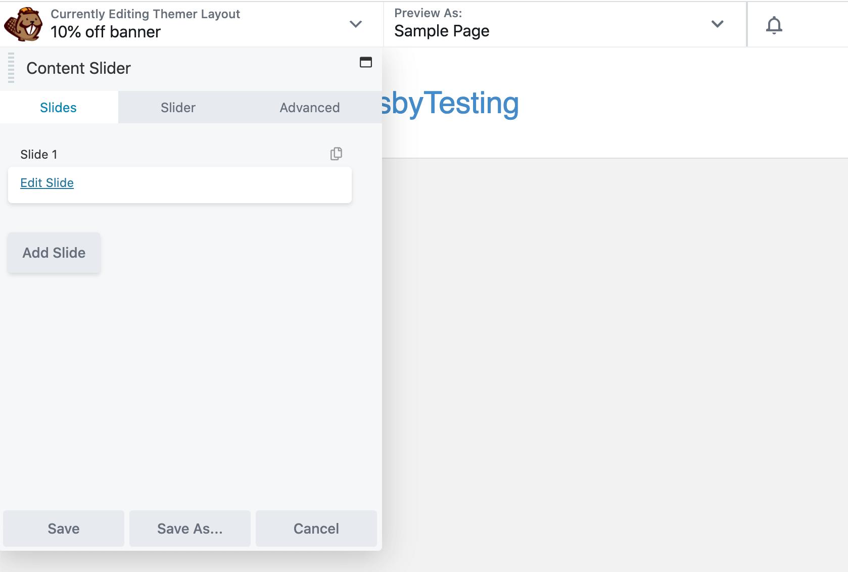 The Content Slider settings menu open in Beaver Builder.