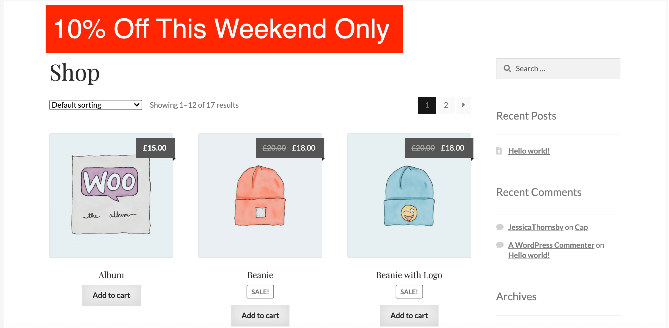 A WooCommerce site with a sales banner created by Beaver Builder.