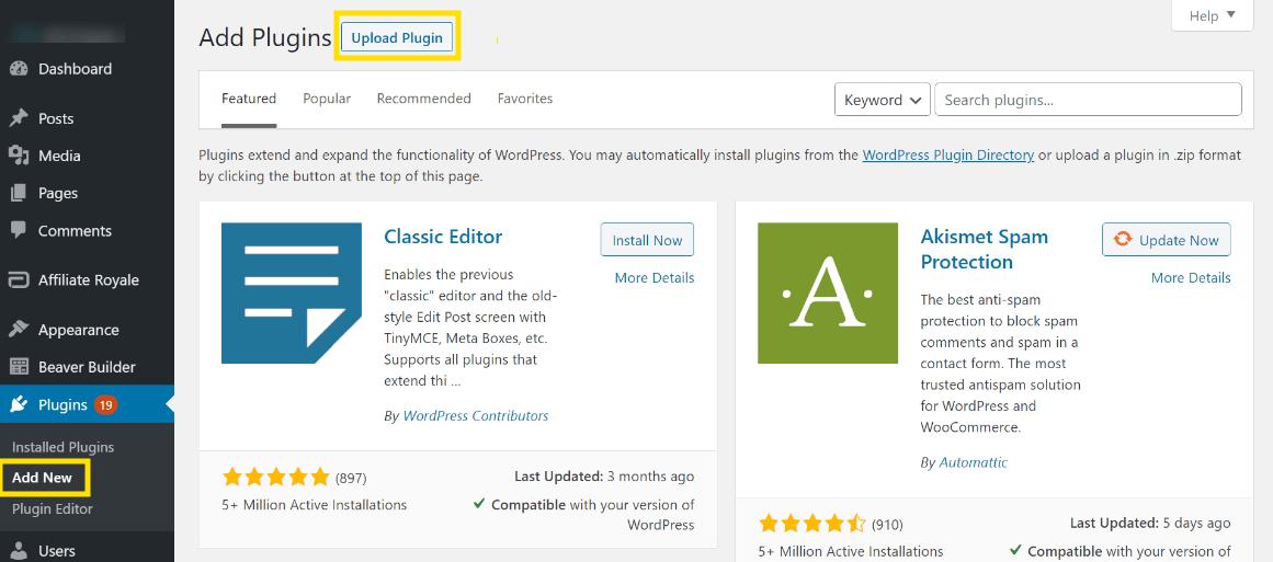 The Upload Plugin button in the WordPress dashboard.