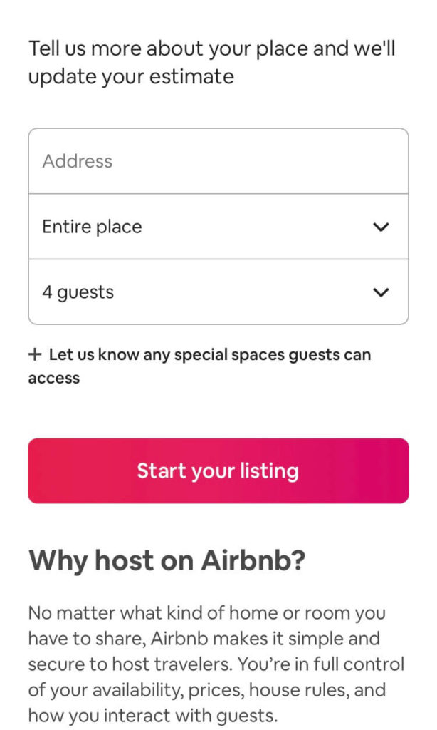 The lead generation form on Airbnb's mobile landing page.