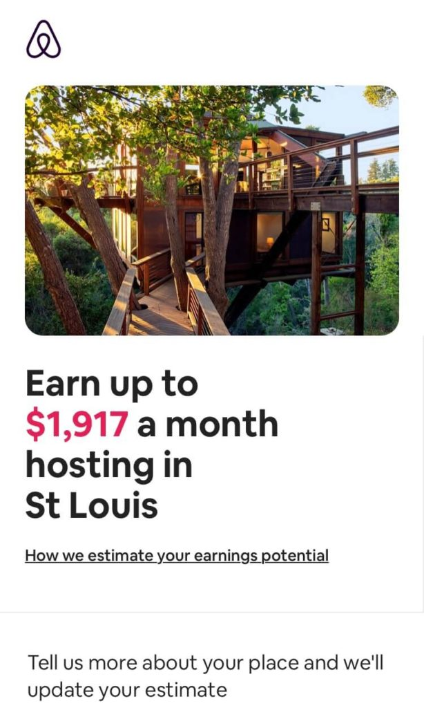 The Airbnb mobile landing page for hosts.