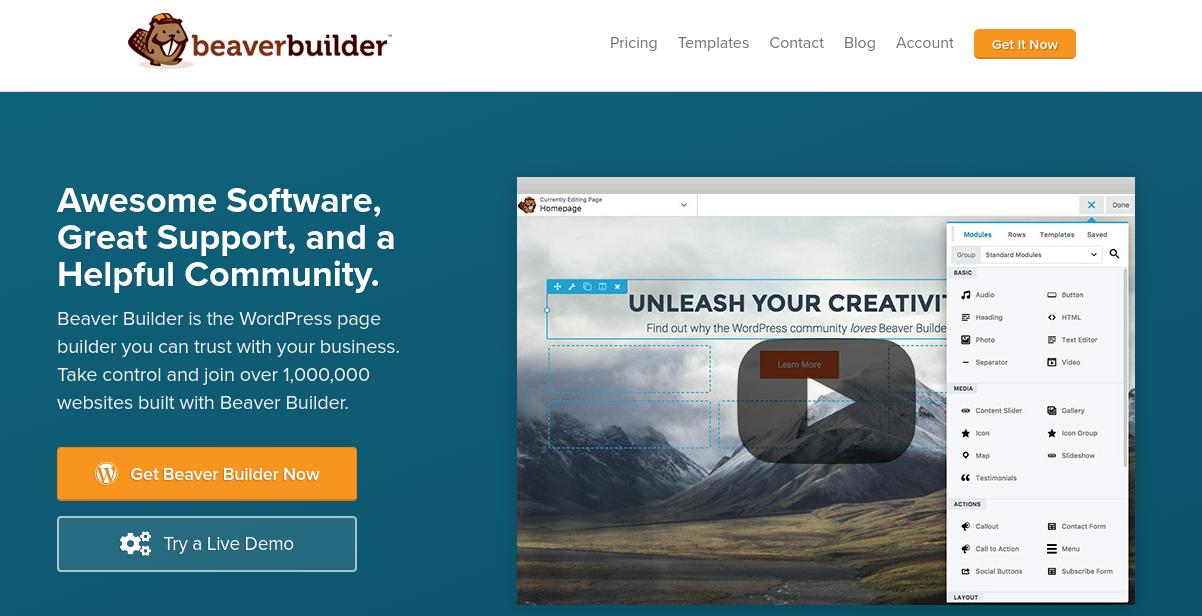 The Beaver Builder website.