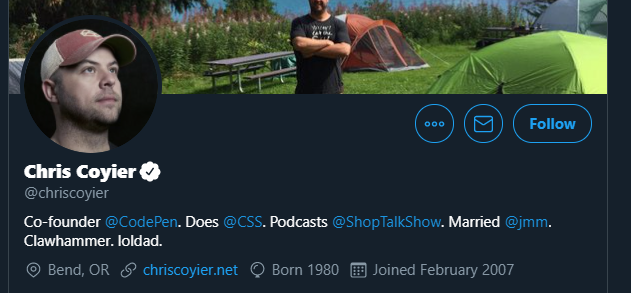 Chris Coyier's Twitter profile