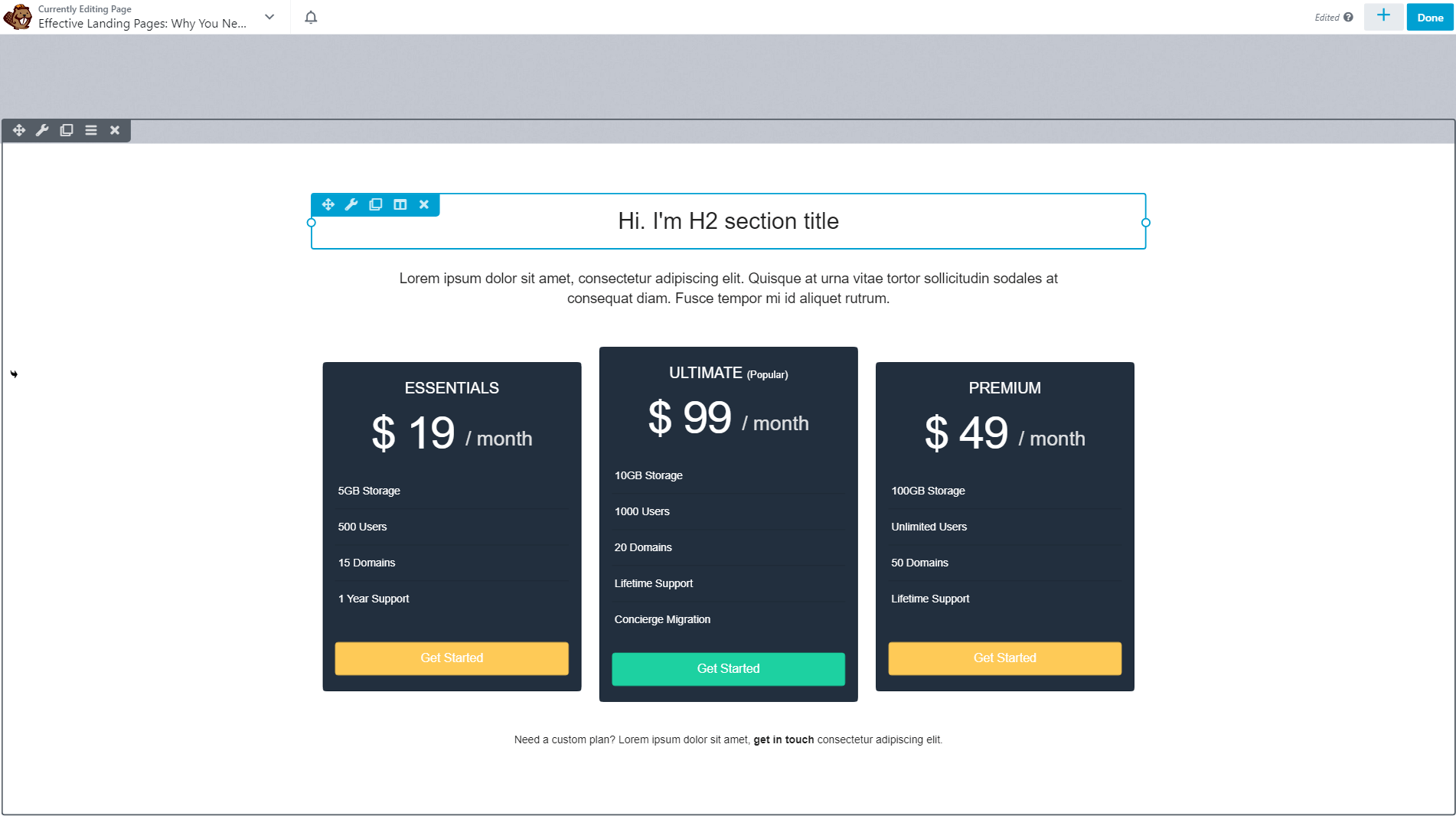 A pricing table built with Beaver Builder.