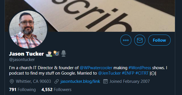 Jason Tucker's Twitter profile