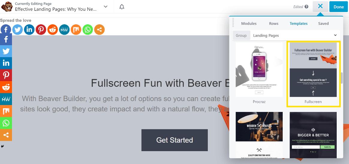 Choosing a template in Beaver Builder.