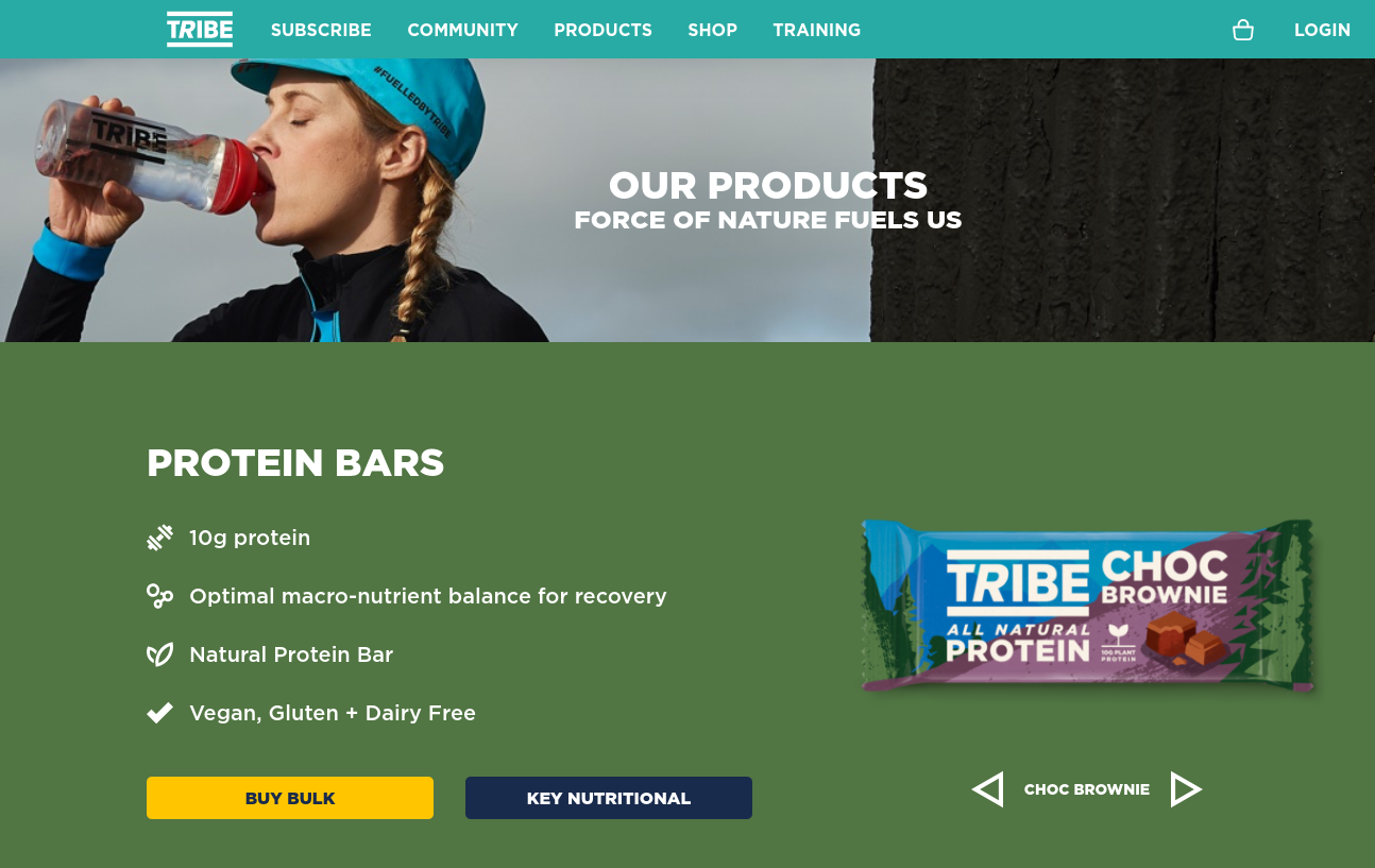An example of a short-form sales page on the Tribe website.