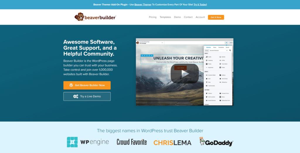 The Beaver Builder homepage.