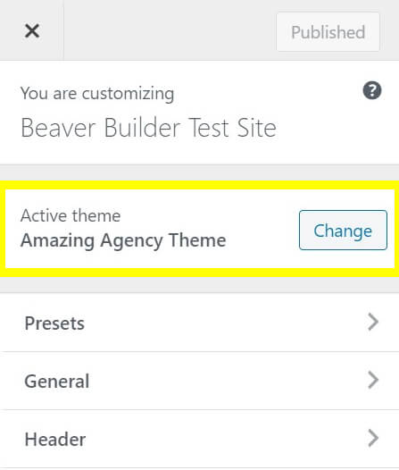 The Beaver Builder theme after being white-labeled.