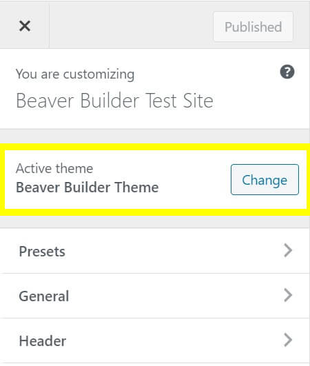 The Beaver Builder theme in the WordPress Customizer.