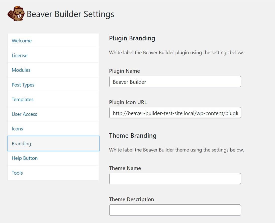 The Beaver Builder Branding settings.