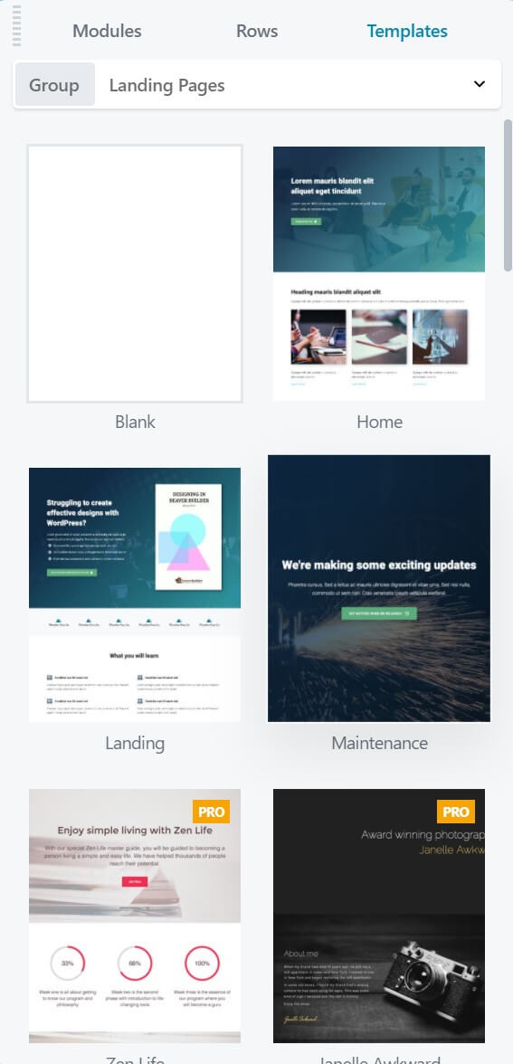 Beaver Builder templates for landing pages.