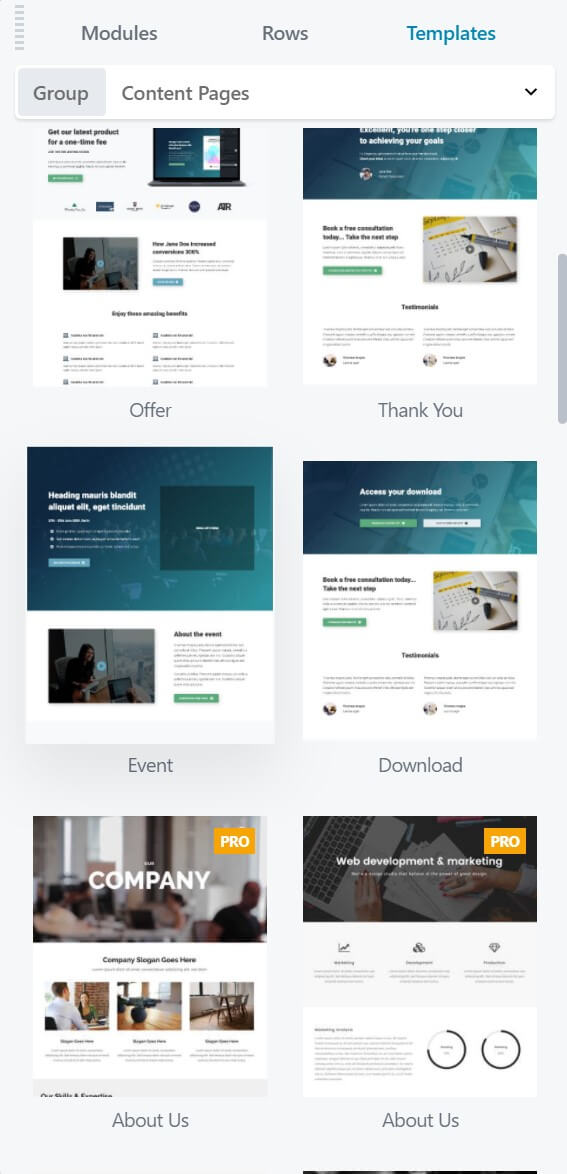 Beaver Builder templates for content pages.