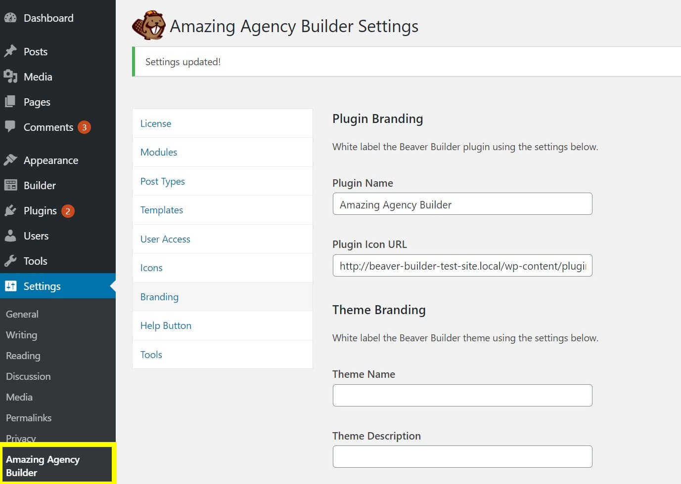 The Beaver Builder plugin after white-labeling.