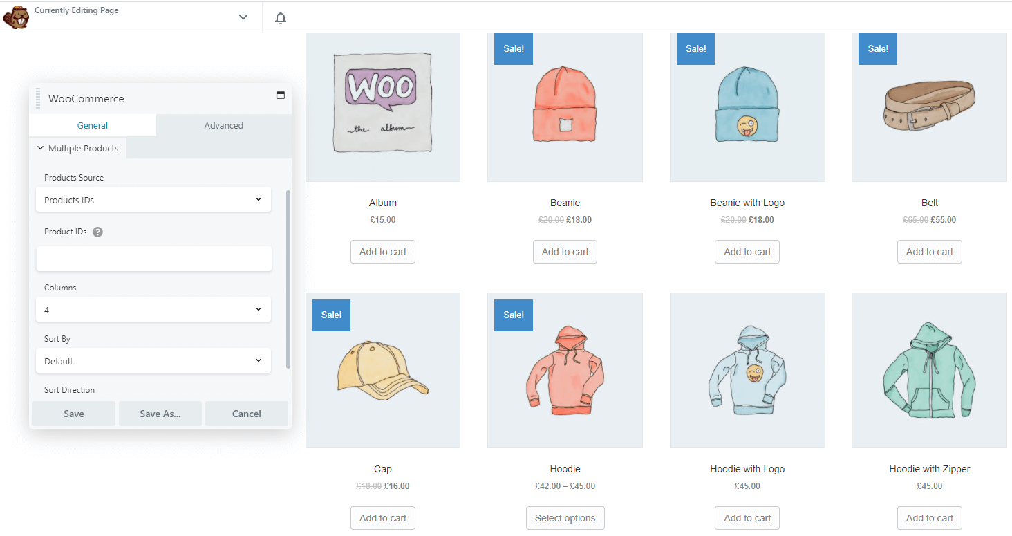 Displaying all products via the WooCommerce module.