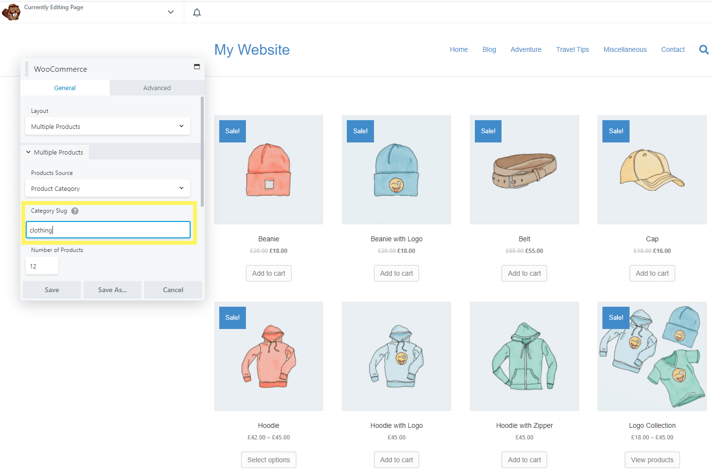 Displaying products by category in the WooCommerce module.