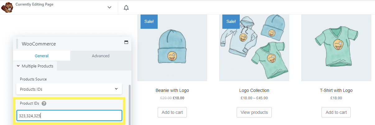 Displaying multiple products by product ID via the WooCommerce module.