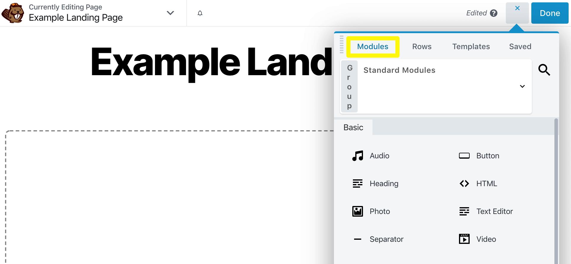 Accessing the Beaver Builder Modules menu.