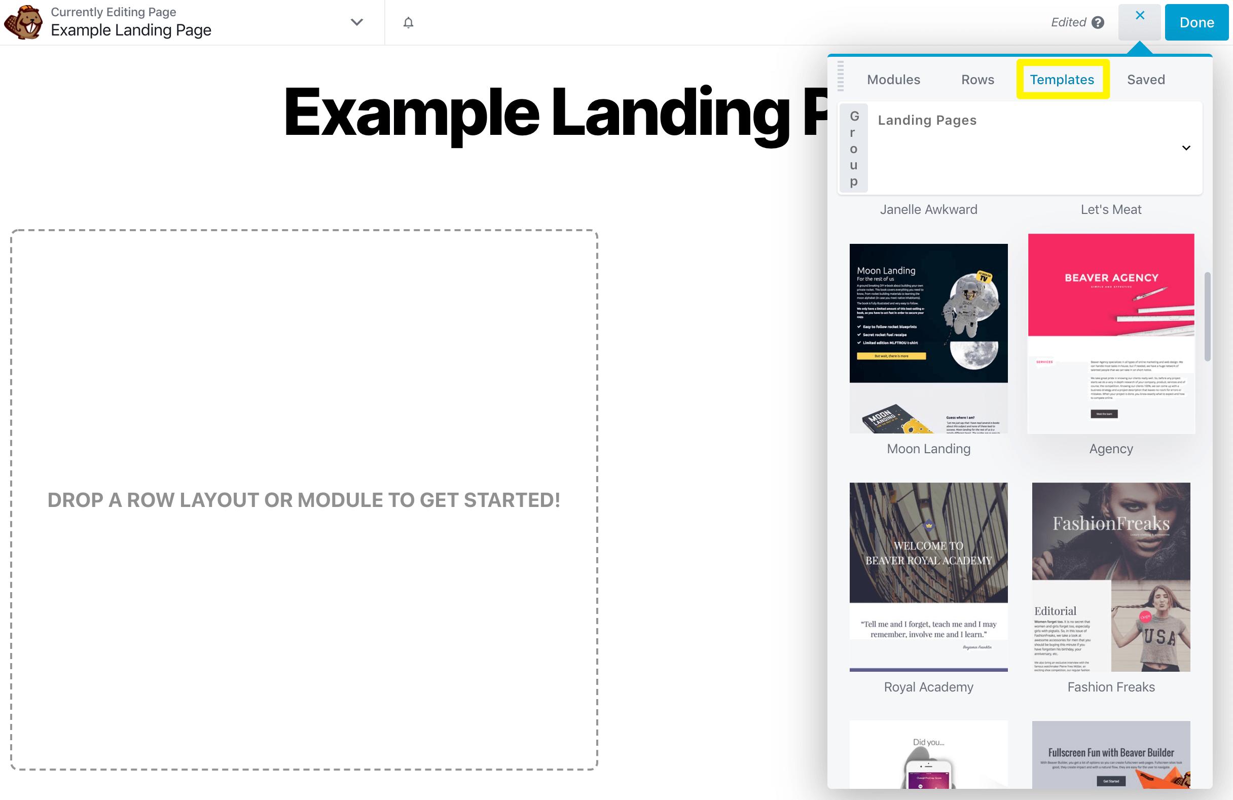 Choosing a landing page template in Beaver Builder.